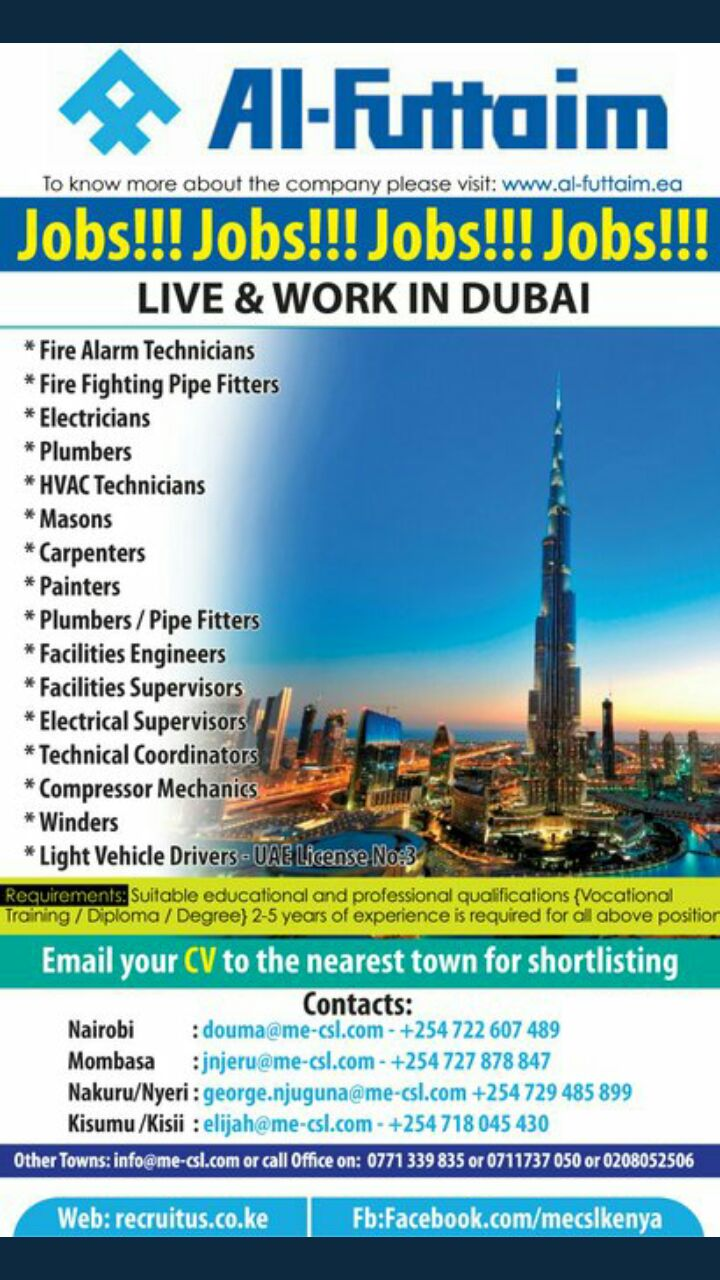 Latest Jobs In Dubai Eligible To Kenyans - Opportunities For