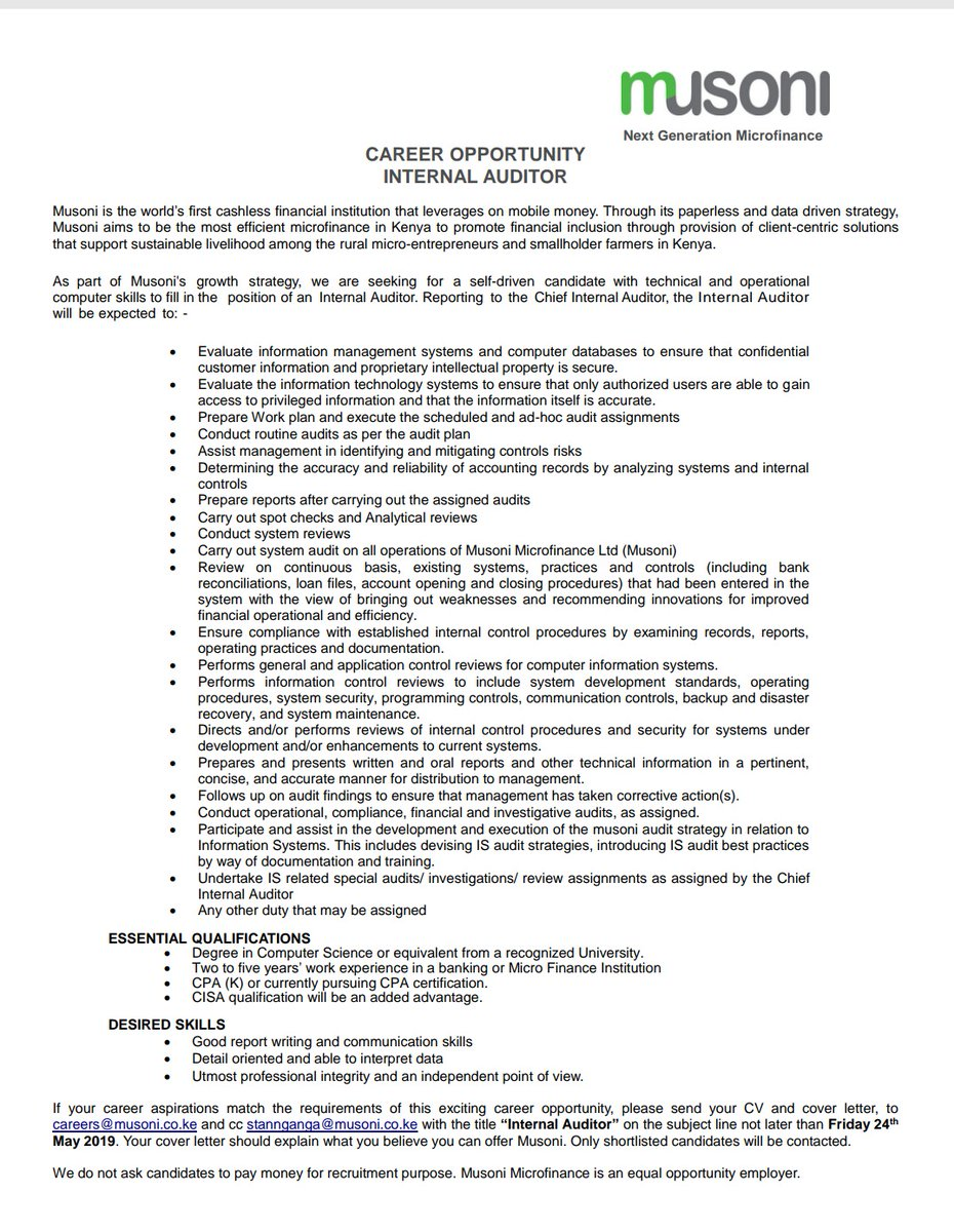 Internal Auditor Wanted - Opportunities For Young Kenyans