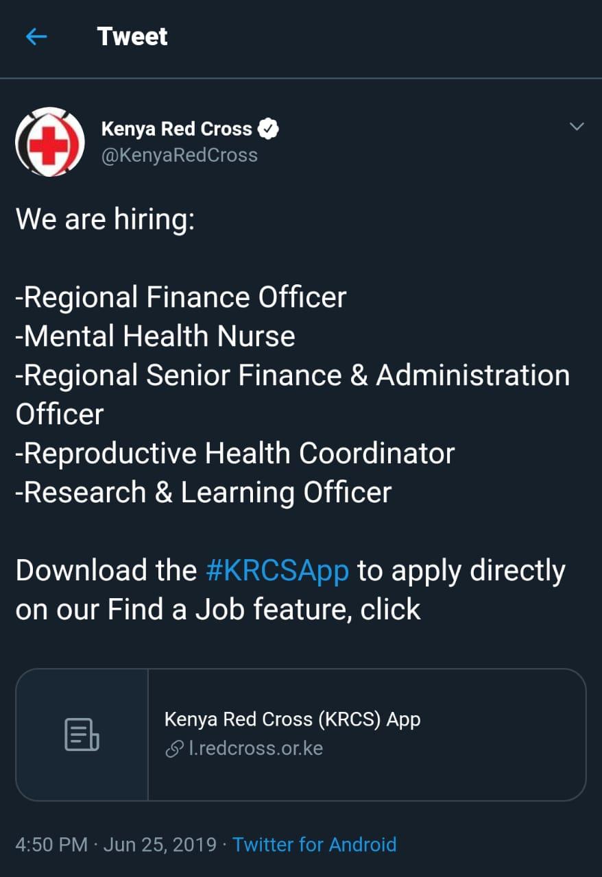 5 Vacancies Open At Kenya Red Cross - Opportunities For
