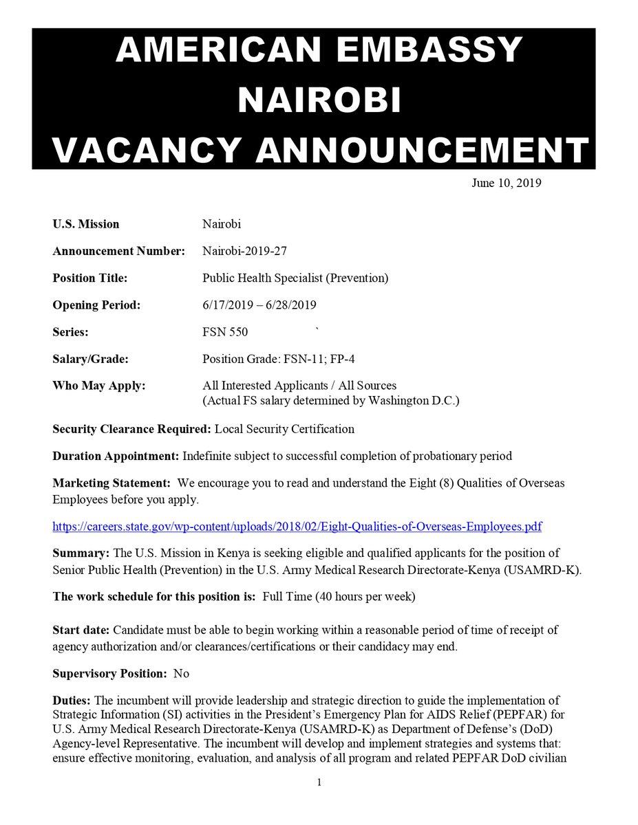 US Embassy Kenya Hiring Public Health Specialist - Opportunities For